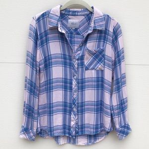 RAILS Blue Lilac Button Down Flannel Top